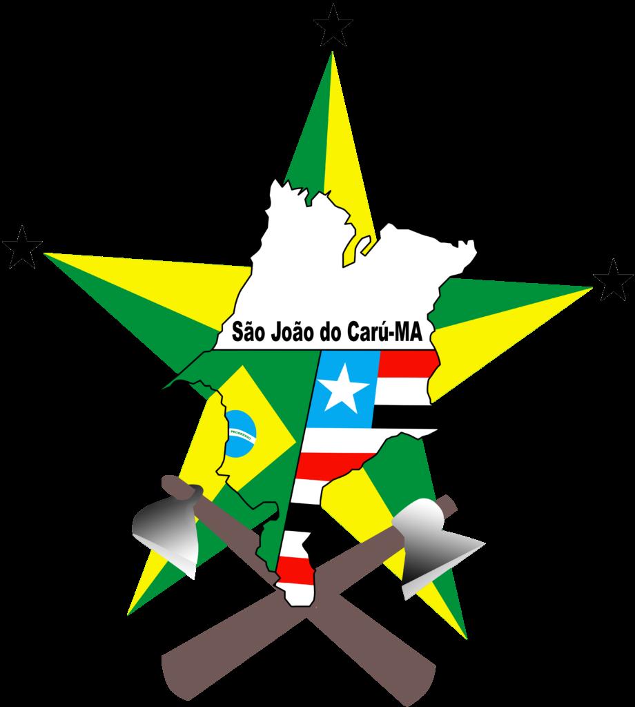 """Brasão de São João do Carú. O Brasão possui uma estrela grande ao fundo com pontas coloridas em verde e amarela. Há acima da ponta superior, na ponta do lado direito e na do lado esquerdo, uma estrela pequena estrela preta. Sobre as duas pontas inferiores da estrela há um desenho de um machado e uma enxada. No meio da estrela grande há um mapa do maranhão onde está desenhado a bandeira do Brasil e do Maranhão lado a lado e uma frase onde se lê """"São João do Carú, Maranhão"""""""